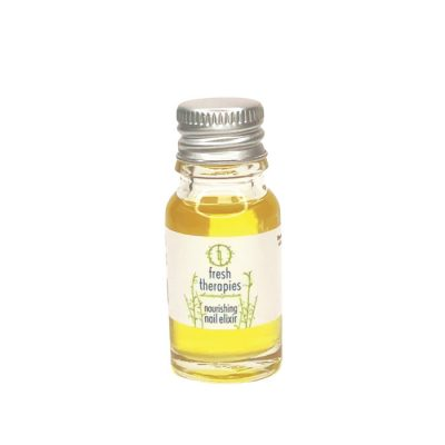 Fresh Therapies nourishing nail elixir, nourishing cuticle oil in 10ml clear glass bottle with silver aluminium lid, containing deep yellow golden colour oil blend